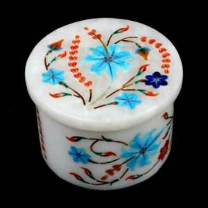 Keepsake in White Marble / Marble Inlay Art Jewelry Box / Collectable Box Arts