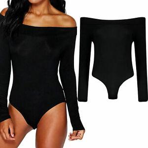 Womens summer  Off Shoulder Long Sleeve Top Plain Stretch Bar dot Bodysuit top