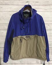 Vtg 90s Eddie Bauer half zip pullover hooded windbreaker pouch jacket M Parka