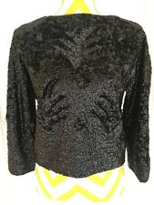 Stunning and Chic Vintage Black Beaded Jacket Top from Paris Jackie Audrey Style
