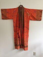 BASSETTI GRANFOULARD Robe Kimono OSFM Cotton Orange Bird Floral Unique GORGEOUS
