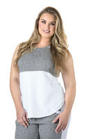 Standards & Practices Plus Size Women's Grey French Terry White Mesh Tunic Tops