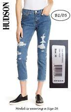 HUDSON $235 NEW Luxe Crop Riley Raw Hem Capri Distressed Jeans 30 L25 QCO