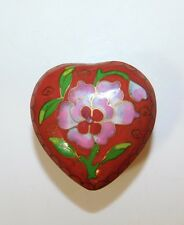 Lovely Vintage Cloisonne Enamel Small Heart Red Floral Trinket box