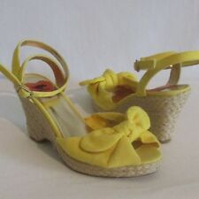 Women's Rocket Dog Yellow Canvas Espadrille Wedge Ankle Strap Sandals Shoes 6M