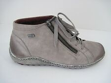 Remonte Tex Gray Leather Lace Up/Zipper Ankle Boots Size 40, Excellent!