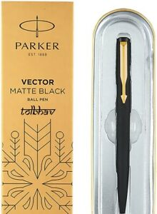 Parker Vector Matte Black GT Gold Trim Ball Point Pen, Fine Tip, Blue Ink, 0.8mm