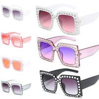 Oversized Square Frame Bling Rhinestone Sunglasses Women Fashion Shades JR