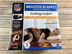 """Washington Redskins 6 Lb. Weighted Blanket 40""""x60"""" NIB NFL Reversible Washable"""