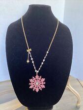 Betsey Johnson Large Pink Snowflake Winter Dangle Necklace