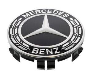 Wheel Hub Cap W. Mercedes Benz Emblem OEM# 2224002200  Alloy Wheel BLACK