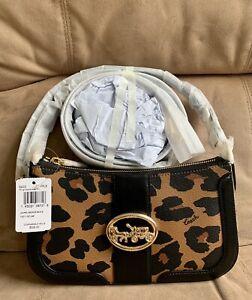 NWT Coach Georgie Baguette Crossbody Shoulder Signature Canvas Leopard Print Bag