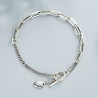 NEW Retro Womens S925 Sterling Silver Asymmetry Curb&Rolo Link Chain Bracelet