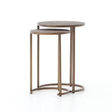 "21"" Tall Set of 2 Quinzio Nesting Table Antique Brass Iron Shagreen Grey"
