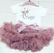 Luxury Girls 1st First Birthday Tutu Skirt Outfit Cake Smash Set Dusky Rose Gold