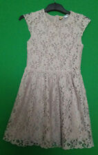 ~H&M~BEIGE~ROUND NECK~CAP SLEEVE~FULLY LINED~LACE DRESS~SIZE 10~