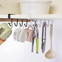 6 Hooks Cup Holder Hang Kitchen Cabinet Bathroom Storage Rack Organizer 26*6.5cm