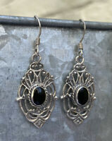 Vintage 925 Sterling Silver Large Decorative Fretwork Filigree Earrings Black