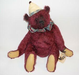 """Artist Mohair jointed Bear 1999 Pat Murphy 16"""" burgundy"""