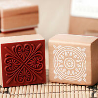 6 Assorted Wooden Stamp Rubber Seal Square Handwriting DIY Craft Flower L Hs