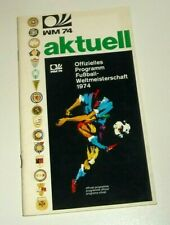 "Rare Original FIFA World Cup 1974 Official ""Programme"" Guide, West Germany"