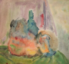 Vintage watercolor painting expressionist still life