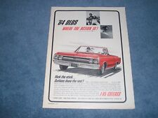 "1964 Oldsmobile Cutlass F-85 Convertible Ad ""Flick the Stick...."""
