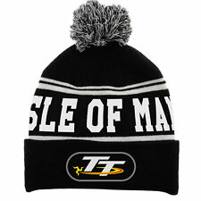 Isle of Man TT Bobble Hat Beanie black grey White