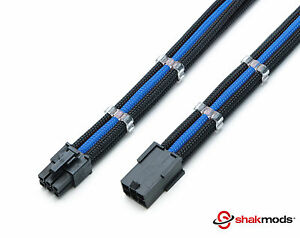 6 Pin Pci-E 30cm Extension Dark Blue Black Sleeved + 2 Free cable Combs Shakmods