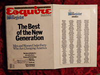 HUGE ESQUIRE December 1984 Best Of The New Generation Raymond Kurzweil