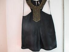 "Pure Silk black Top Shop ""Gangstaa!"" sleeveless top in size 8 stud embellished"