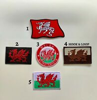 Wales Welsh Dragon Flag Hook&Loop Iron Sew On Mix Patch Badge Bikers Dress Cloth