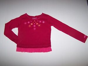 AMERICAN GIRL FASHION SHOW RED PINK STARS GLITTER SHIRT TOP SIZE SMALL (7/8) EUC