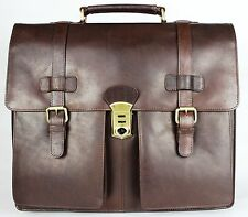 Luxury Italian Genuine Leather Mens Bag Laptop Office Briefcase Messenger Bag