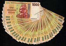 1 Thousand Zimbabwe Dollars x 30 Banknotes Paper Money Currency Lot 30PCS z 1000