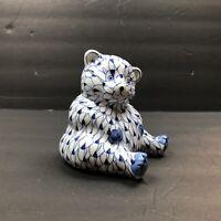 Vtg Andrea By Sadek Bear Porcelain Figurine Blue White Fishnet Hand Painted