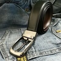 """Mens Stitched New Reversible Leather Belts Metal Buckles - Black/Brown - 26""""-58"""""""