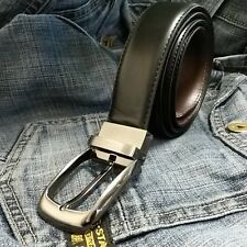 "Mens Stitched New Reversible Leather Belts Metal Buckles - Black/Brown - 26""-58"""