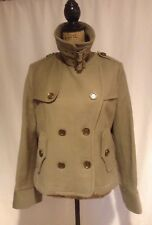 NWT BURBERRY BRIT Cropped, Double Breasted Trench Coat, Military Style, Sz US 12