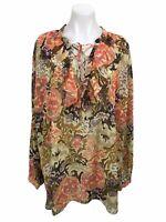 Lauren Ralph Lauren Blouse Women's Size 3X Floral Ruffle Lace Up Top Long Sleeve