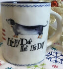 """Anthropologie Lucy Eldridge """"Every Dog Has His Day"""" Red White Blue Mug NEW"""