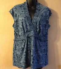 Liz and Co Womens Short Sleeve Blue/ White Floral Print Career Blouse Top .Sz XL