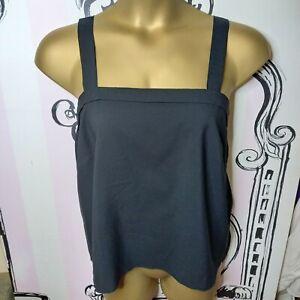 Size 12-14 Vintage Black Slightly Sheer Chiffon Pleated Sleeveless Vest Top