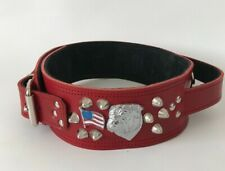 REAL LEATHER/HEAVY DUTY BULLDOG COLLAR/HANDLE/QUICK CONTROL FOR TRAINING/2.5""