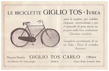PUBBLICITA' 1928 BICICLETTA GIGLIO TOS OFFICINA IVREA RICAMBI ACCESSORI BIKE