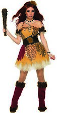 Captivating Cave Girl Costume Woman Halloween Leopard Fancy Dress Prehistoric OS