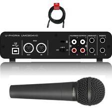Behringer U-PHORIA UMC204HD USB 2.0 Audio Recording Interface + XM8500 Mic & xlr