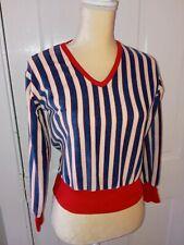 Vtg 70's 80s Crop Top Red White Blue Striped Terrycloth Velour Shirt Blouse Sz M