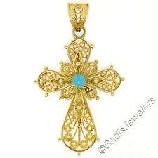 Vintage 18K Yellow Gold 3mm Persian Turquoise Open Filigree Work Cross Pendant