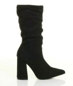 WOMENS LADIES HIGH BLOCK HEEL ZIP POINTED RUCHED CALF BOOTS SIZE UK